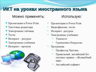 ИКТ на уроках иностранного языка Презентации в Power Point Текстовые редактор
