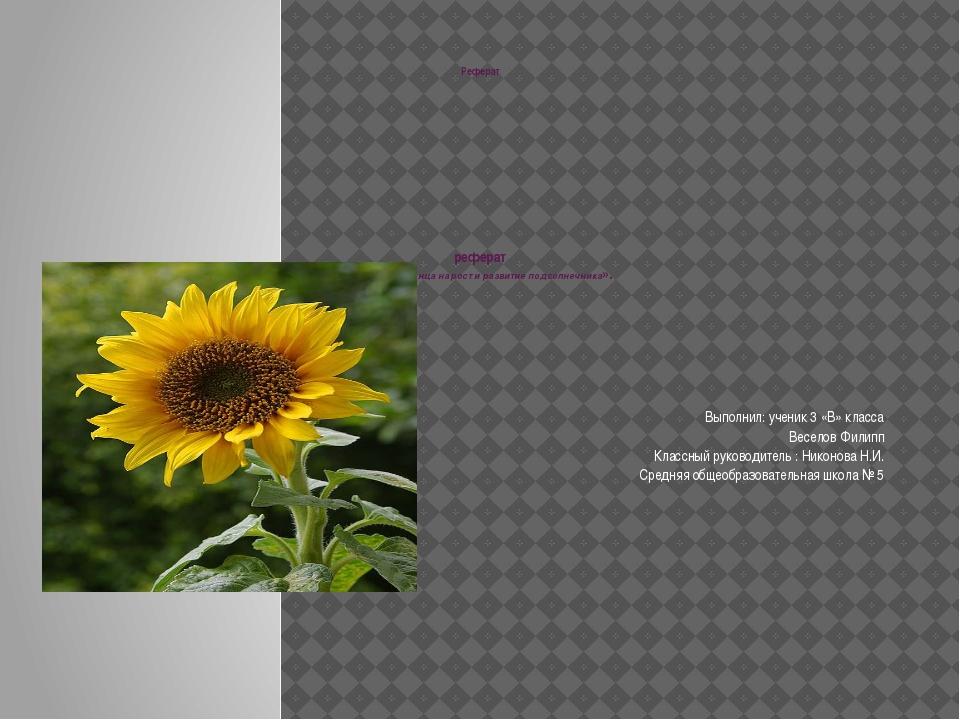 Реферат реферат « Влияние солнца на рост и развитие подсолнечника». Выполнил:...