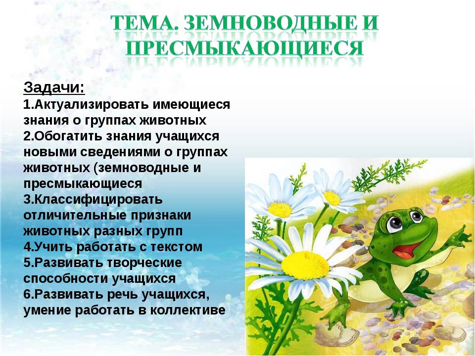 Задачи: Актуализировать имеющиеся знания о группах животных Обогатить знания...