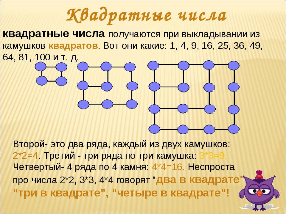 Квадратные числа квадратные числа получаются при выкладывании из камушков ква...