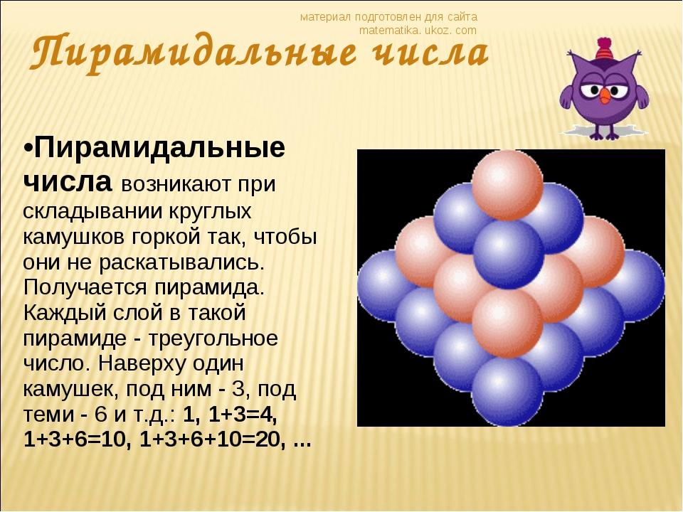 Пирамидальные числа материал подготовлен для сайта matematika. ukoz. com Пира...