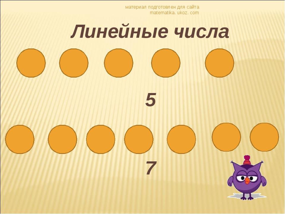 материал подготовлен для сайта matematika. ukoz. com Линейные числа 5 7 матер...
