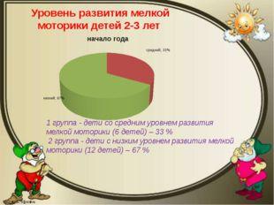 Уровень развития мелкой моторики детей 2-3 лет 1 группа - дети со средним уро