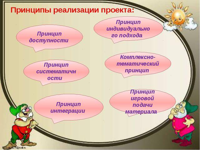 Принципы реализации проекта: Принцип доступности Принцип систематичности Прин...