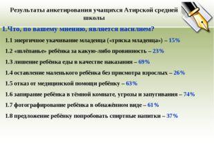 Результаты анкетирования учащихся Атирской средней школы 1.Что, по вашему мне