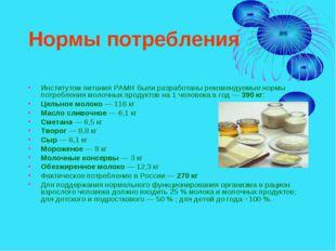Нормы потребления Институтом питания РАМН были разработаны рекомендуемые норм