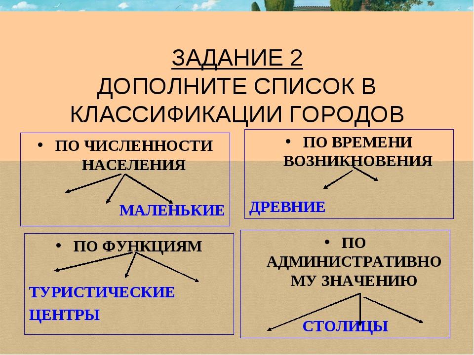 ЗАДАНИЕ 2 ДОПОЛНИТЕ СПИСОК В КЛАССИФИКАЦИИ ГОРОДОВ ПО ЧИСЛЕННОСТИ НАСЕЛЕНИЯ...