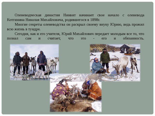 Оленеводческая династия Нинвит начинает свое начало с оленевода Котгинина Ни...