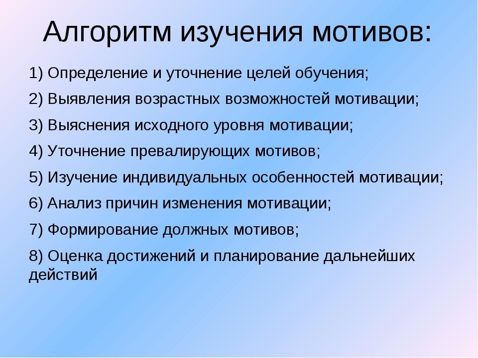 Алгоритм изучения мотивов: 1) Определение и уточнение целей обучения; 2) Выяв...