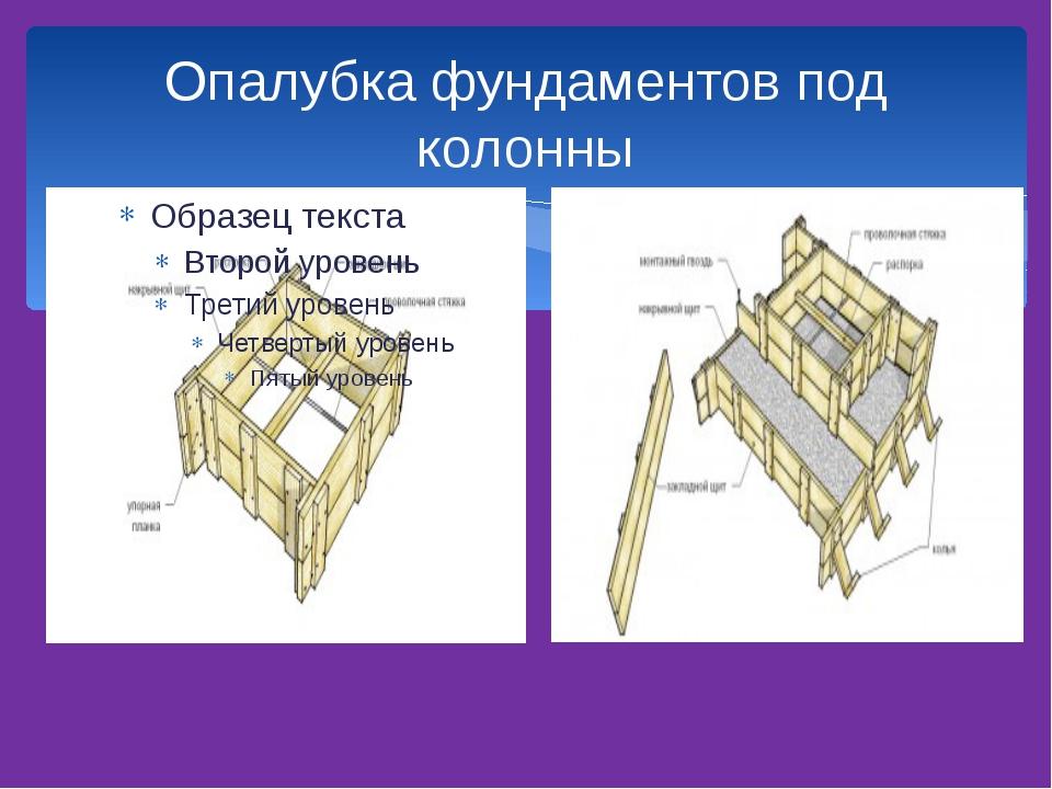 Опалубка фундаментов под колонны