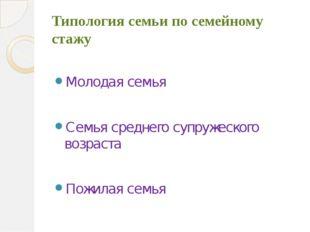 Типология семьи по семейному стажу Молодая семья Семья среднего супружеского
