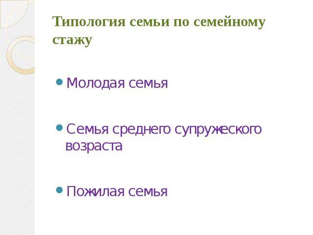 Типология семьи по семейному стажу Молодая семья Семья среднего супружеского...