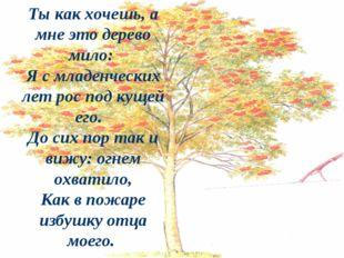 Ты как хочешь, а мне это дерево мило: Я с младенческих лет рос под кущей его.
