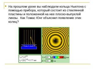 На прошлом уроке вы наблюдали кольца Ньютона с помощью прибора, который состо
