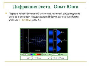 Дифракция света.  Опыт Юнга Первое качественное объяснение явления дифракции