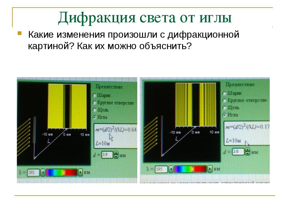 Дифракция света от иглы Какие изменения произошли с дифракционной картиной?...