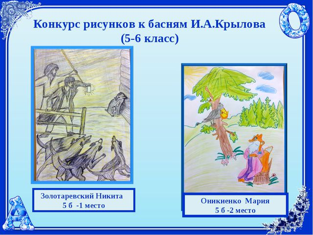 Конкурс рисунков к басням И.А.Крылова (5-6 класс) Золотаревский Никита 5 б -1...