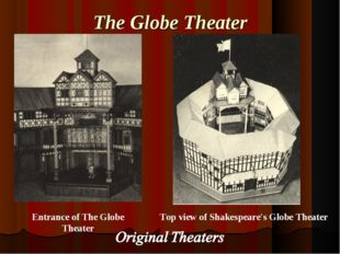 The Globe Theater Top view of Shakespeare's Globe Theater Entrance of The Glo