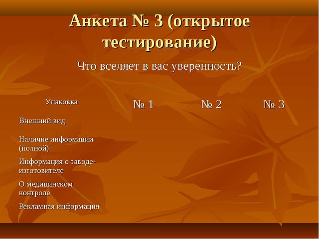 Анкета № 3 (открытое тестирование) Что вселяет в вас уверенность? Упаковка №...