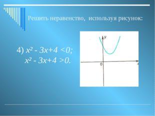 Решить неравенство, используя рисунок: 4) х² - 3х+4 0.