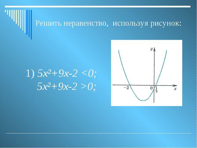 1) 5х²+9х-2 0; Решить неравенство, используя рисунок: