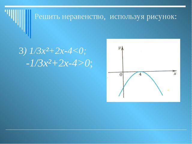 3) 1/3х²+2х-40; Решить неравенство, используя рисунок: