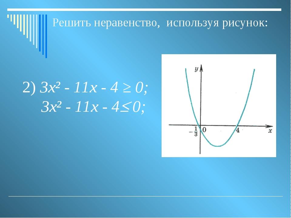 Решить неравенство, используя рисунок: 2) 3х² - 11х - 4 ≥ 0; 3х² - 11х - 4 0;
