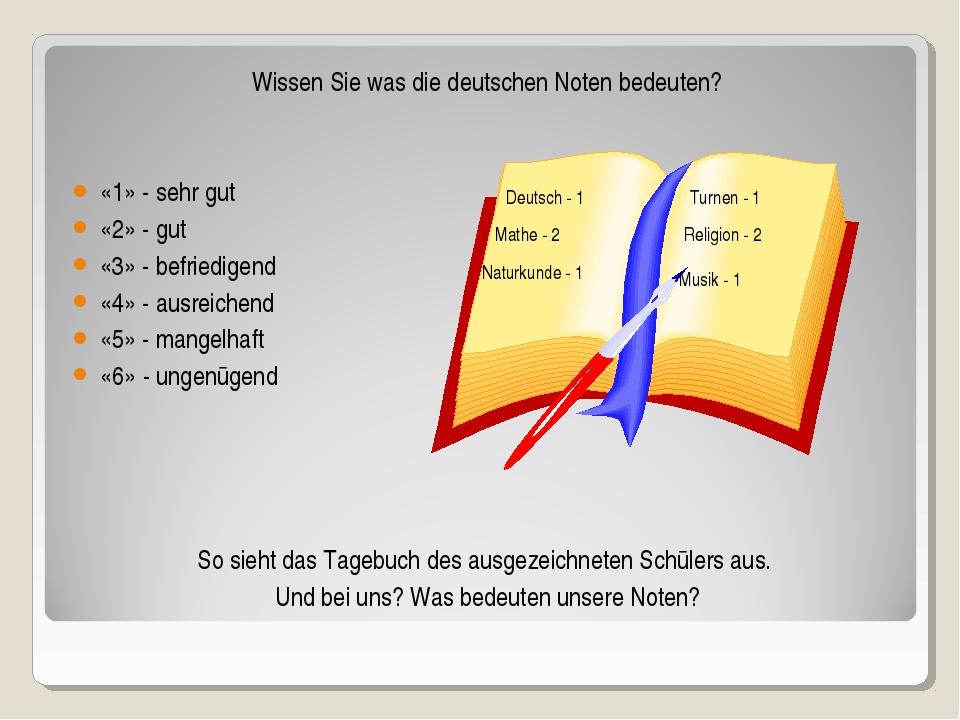 Wissen Sie was die deutschen Noten bedeuten? «1» - sehr gut «2» - gut «3» - b...