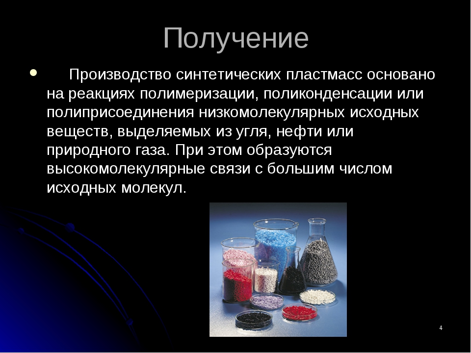 * Получение Производство синтетических пластмасс основано на реакциях полимер...