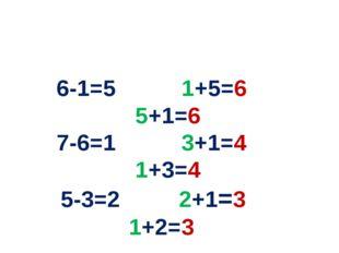 6-1=5 1+5=6 5+1=6 7-6=1 3+1=4 1+3=4 5-3=2 2+1=3 1+2=3