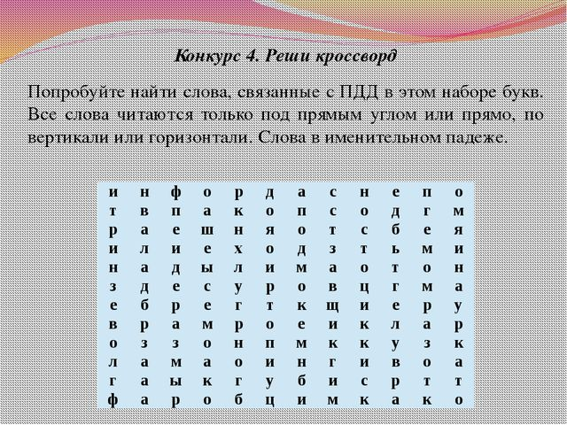 Конкурс 4. Реши кроссворд Попробуйте найти слова, связанные с ПДД в этом набо...