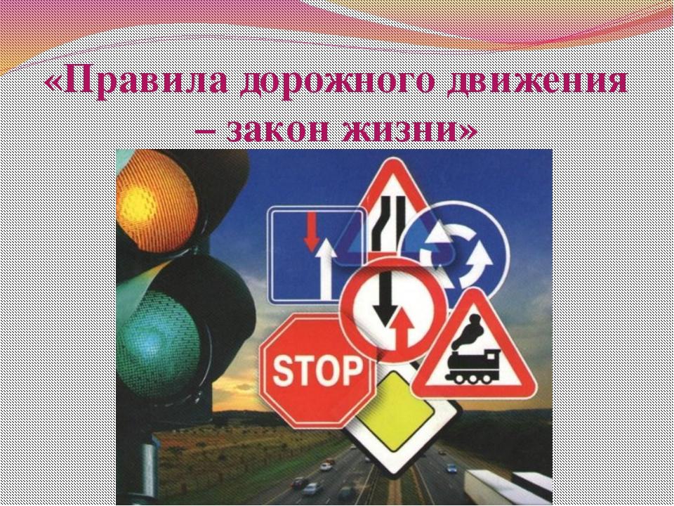 «Правила дорожного движения – закон жизни»