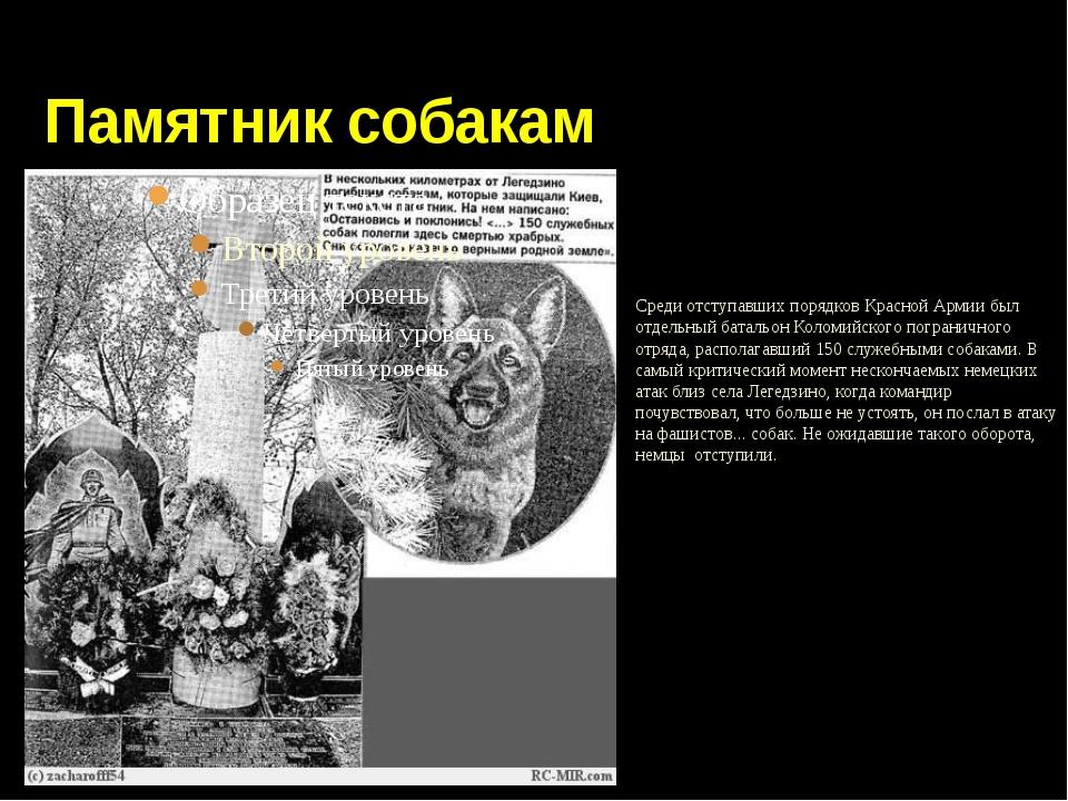 Памятник собакам Среди отступавших порядков Красной Армии был отдельный бата...