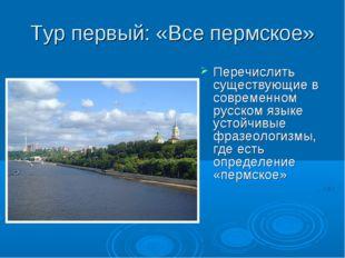 Тур первый: «Все пермское» Перечислить существующие в современном русском язы