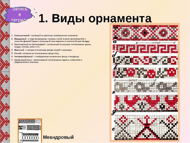 Виды орнамента Ленточный - в виде прямой или криволинейной орнаментальной пол...