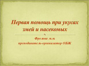 Фролова м.м. преподаватель-организатор ОБЖ