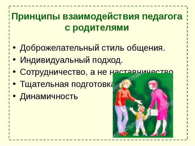 Принципы взаимодействия педагога с родителями Доброжелательный стиль общения....