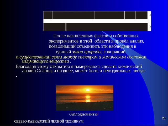 СЕВЕРО-КАВКАЗСКИЙ ЛЕСНОЙ ТЕХНИКУМ * После накопленных фактов и собственных эк...