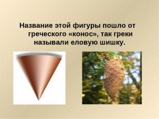 Название этой фигуры пошло от греческого «конос», так греки называли еловую ш