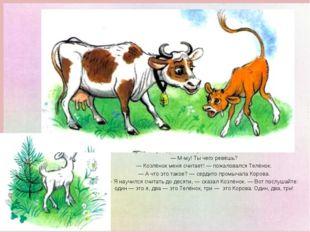 Тут к нему подбежала Корова с колокольчиком на шее. — М-му! Ты чего ревёшь? —