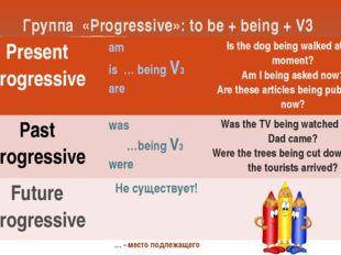 Группа «Progressive»: to be + being + V3 … - место подлежащего Present Progre