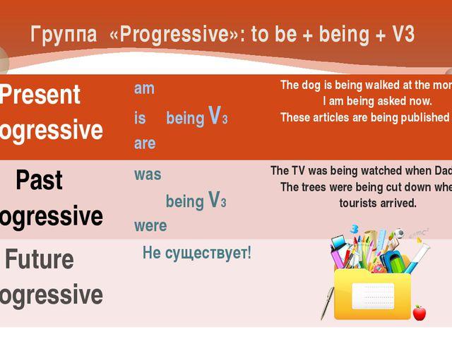 Группа «Progressive»: to be + being + V3 Present Progressive am is beingV3 ar...