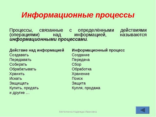 Метёлкина Надежда Ивановна * Информационные процессы Процессы, связанные с оп...