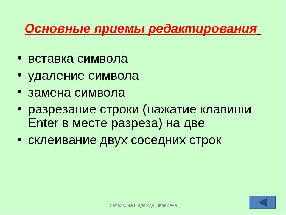 Метёлкина Надежда Ивановна * Основные приемы редактирования вставка символа у...