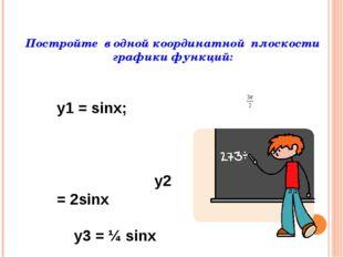 Постройте в одной координатной плоскости графики функций: y1 = cosx; у2 = 3c