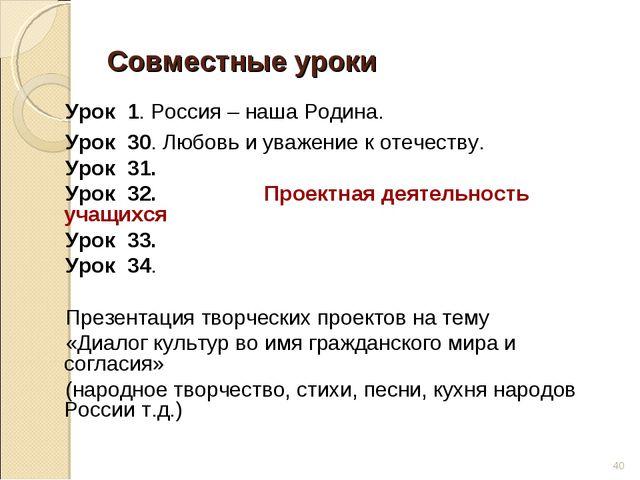 Совместные уроки Урок 1. Россия – наша Родина. Урок 30. Любовь и уважение к о...