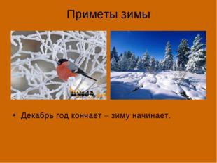 Приметы зимы Декабрь год кончает – зиму начинает.