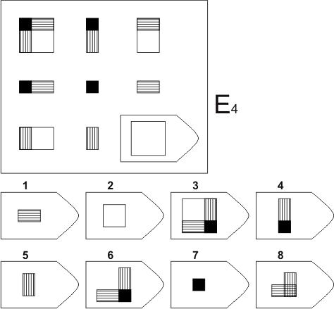 прогрессивные матрицы Равена, серия E, карточка 4