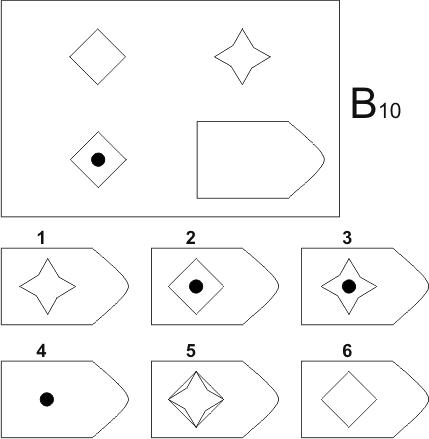прогрессивные матрицы Равена, серия B, карточка 10