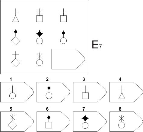 прогрессивные матрицы Равена, серия E, карточка 7